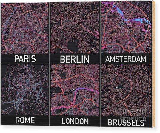 European Capital Cities Maps Wood Print