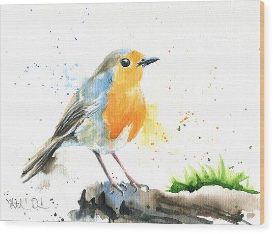 European Robin Wood Print