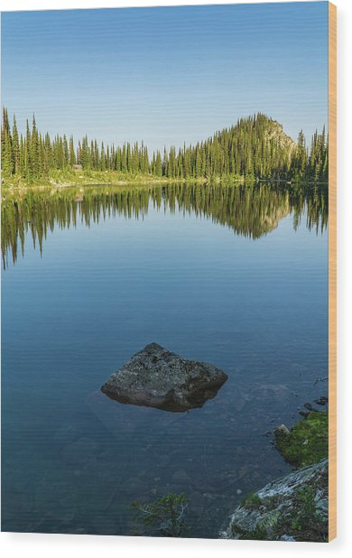 Eva Lake Mirror Wood Print