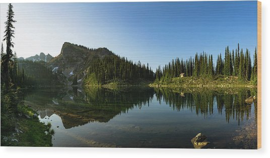 Eva Lake Panorama Wood Print