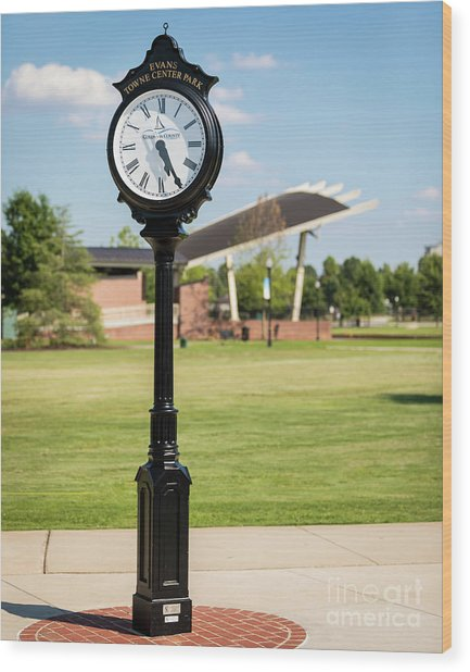 Evans Towne Center Park Clock - Columbia County Ga Wood Print