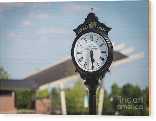 Evans Towne Center Park Clock - Evans Ga Wood Print