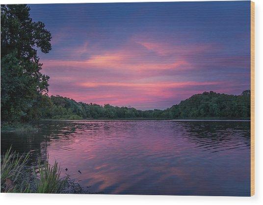 Evening At Springfield Lake Wood Print
