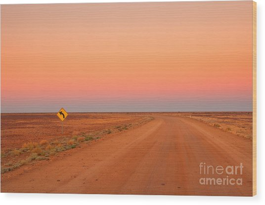 Evening In The Australian Outback, Dirt Wood Print