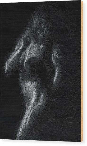 Wood Print featuring the digital art Exhale by ISAW Company