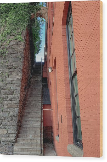 Exorcist Stairs Beauty Wood Print