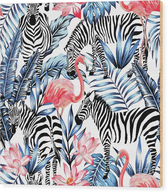 Exotic Pink Flamingo, Zebra On Wood Print by Berry2046