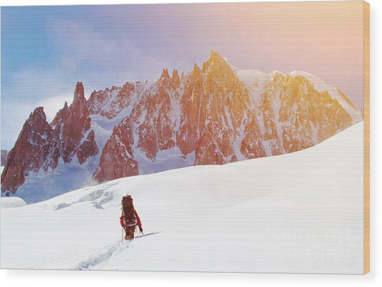 Extreme Sport. Lone Hikers In Winter Wood Print