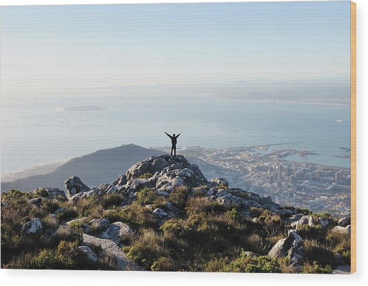 Exuberant Man On Top Of Table Mountain Wood Print by David Malan