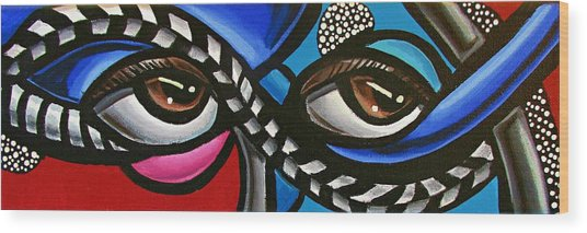 Eye Art Painting Abstract Chromatic Painting Electric Energy Artwork Wood Print