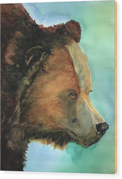 Face To Face Bear Wood Print
