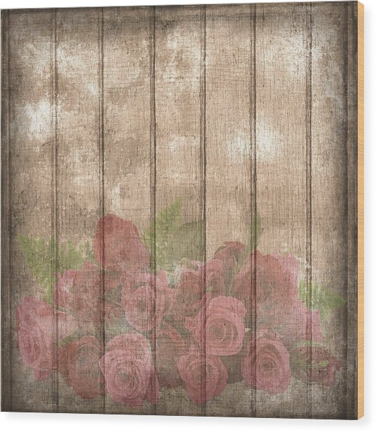 Faded Red Country Roses On Wood Wood Print