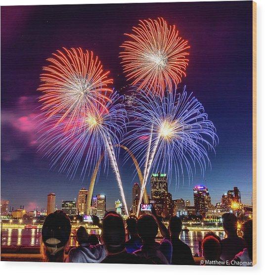 Wood Print featuring the photograph Fair St. Louis Fireworks 6 by Matthew Chapman