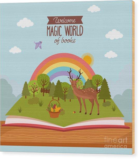 Fairy Tale Concept. Kids Illustration Wood Print