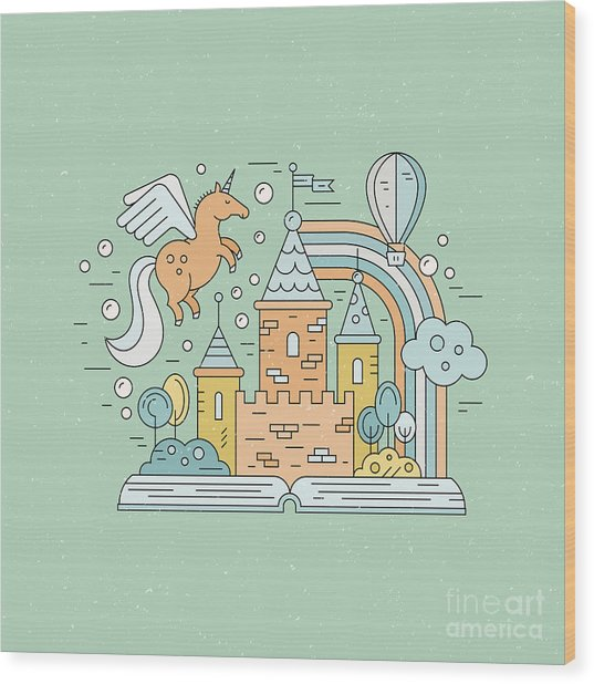 Fairytale Illustration With Open Book Wood Print