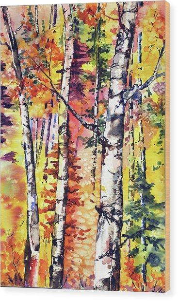 Fall Aspen Colors Wood Print