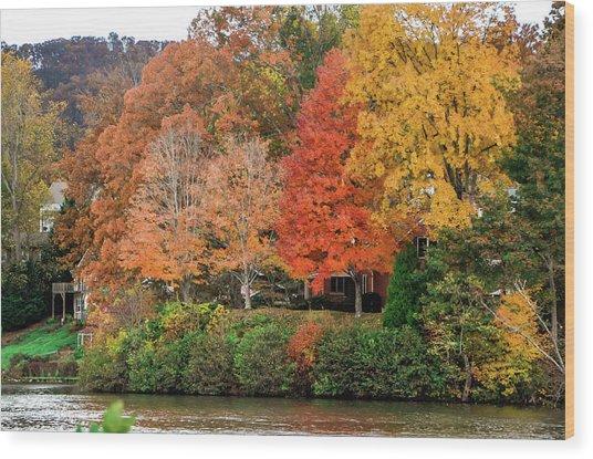 Fall At The Lake Wood Print