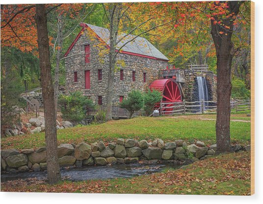 Fall Foliage At The Grist Mill Wood Print