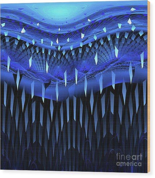 Falling Blue Wood Print