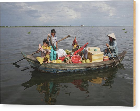 Family & Snake Sell Wares On Tonle Wood Print