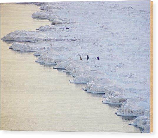 Family By Frozen Lake Wood Print