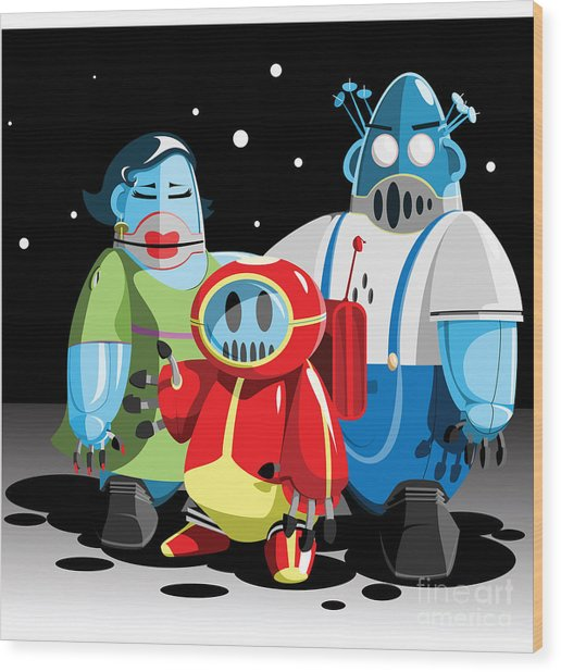 Family Of Moon Robots Wood Print