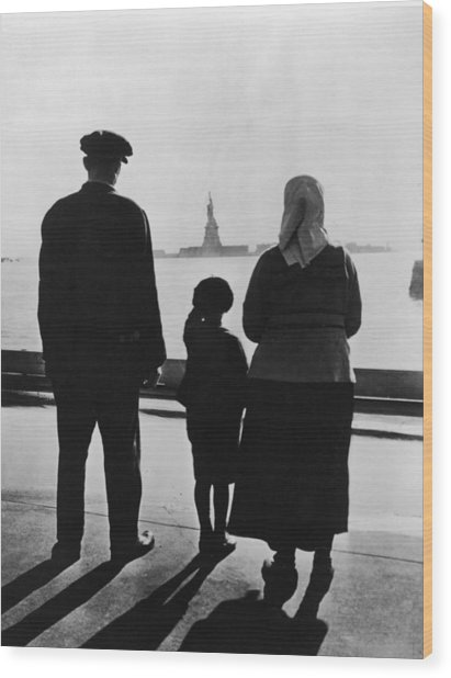 Family Views Statue Of Liberty From Wood Print by Fpg
