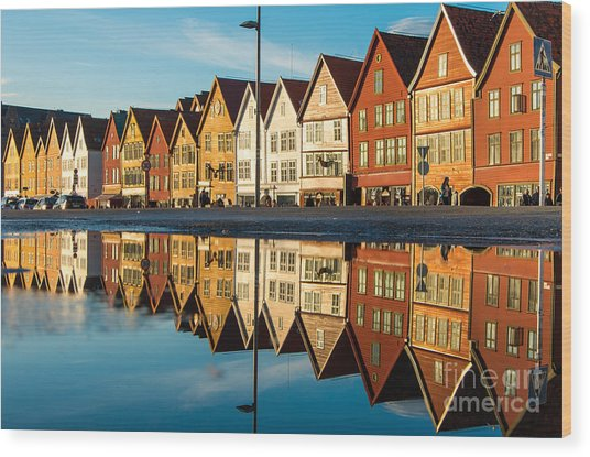 Famous Bryggen Street With Wooden Wood Print