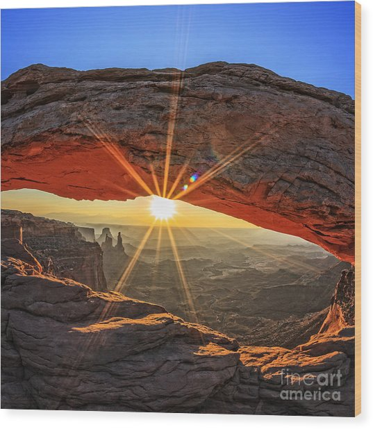 Famous Sunrise At Mesa Arch In Wood Print