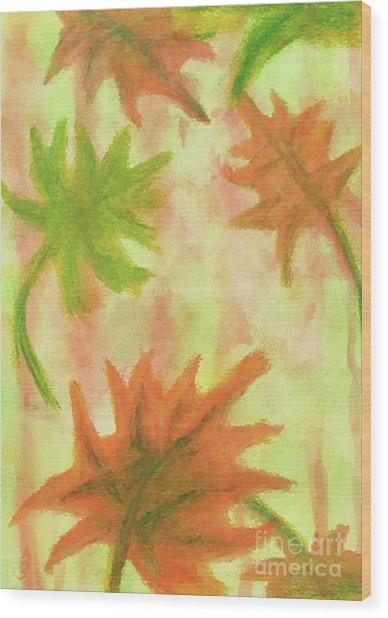 Fanciful Fall Leaves Wood Print