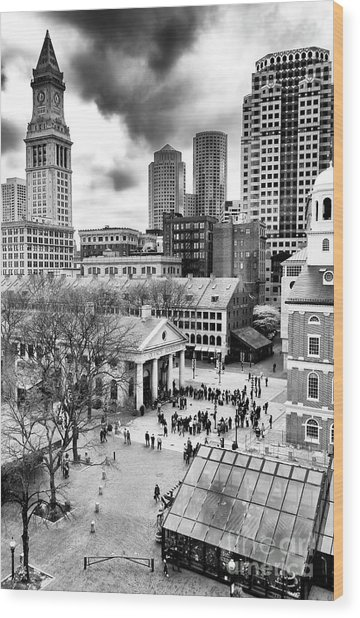 Faneuil Hall Marketplace Boston Wood Print
