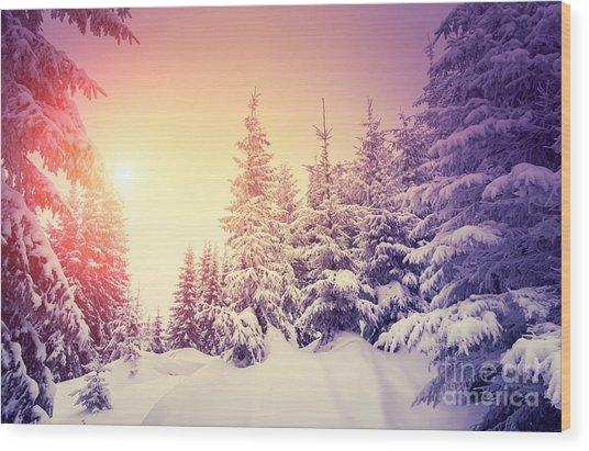 Fantastic Landscape Glowing By Wood Print