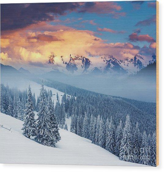Fantastic Winter Landscape. Dramatic Wood Print