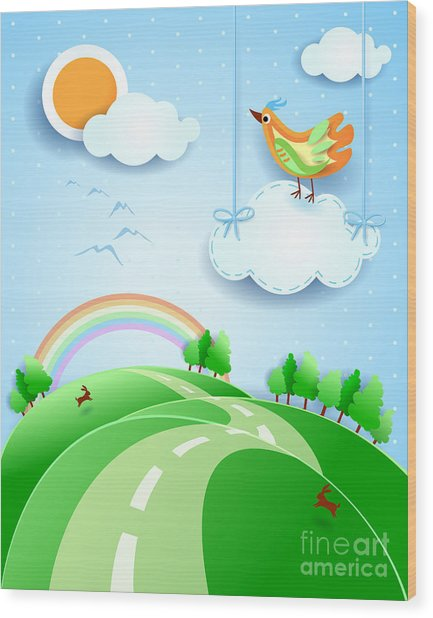 Fantasy Landscape With Bird, Vector Wood Print