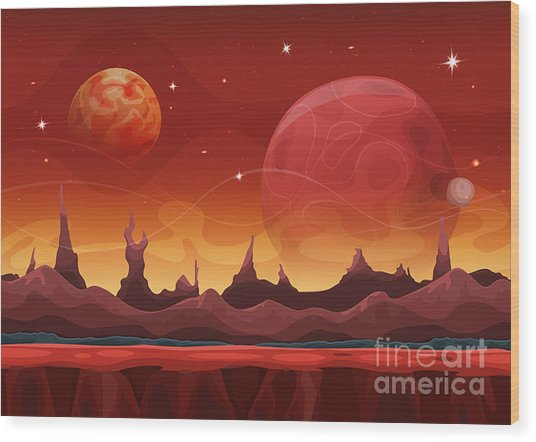 Fantasy Sci-fi Martian Background For Wood Print