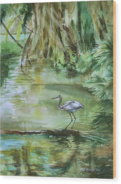 Far Harbor Heron Wood Print