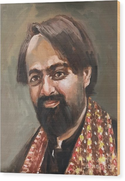 Wood Print featuring the painting Farhan Shah by Nizar MacNojia