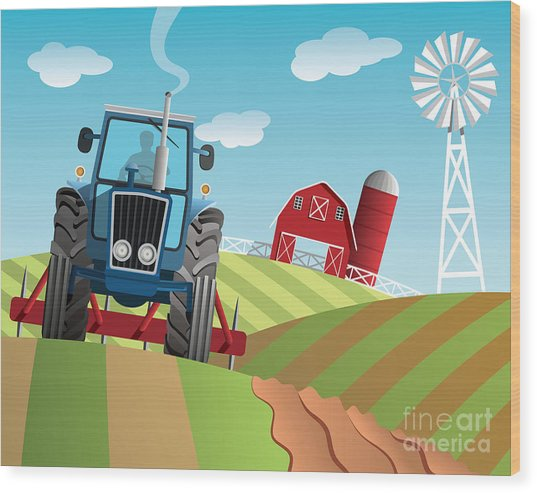Farm Background Wood Print