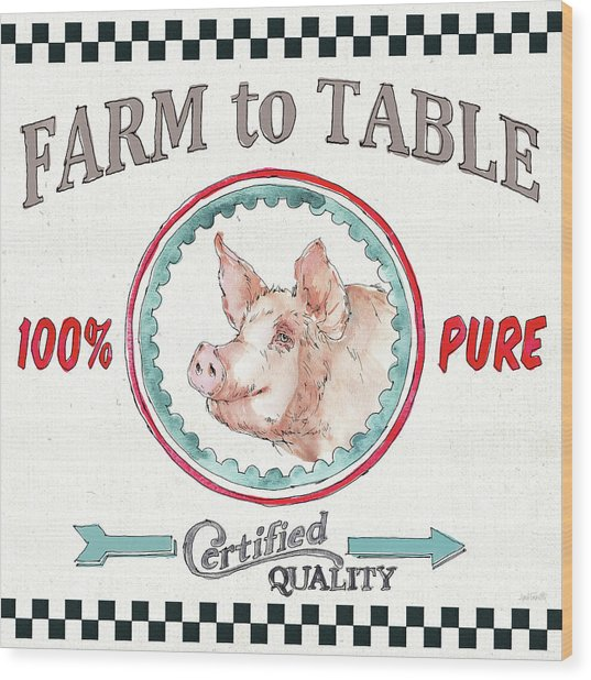 Farm Signs Iv Wood Print