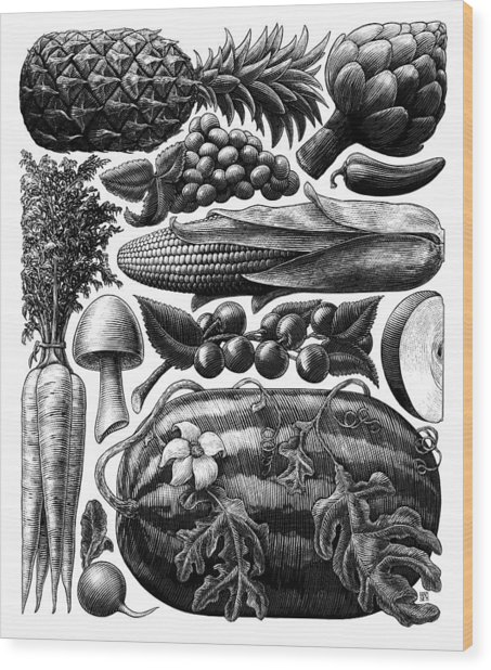 Wood Print featuring the drawing Farmer's Market - Bw by Clint Hansen