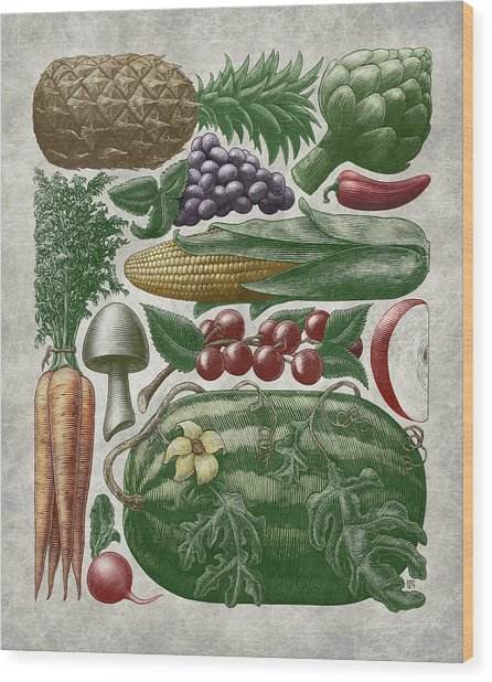 Wood Print featuring the drawing Farmer's Market - Color by Clint Hansen