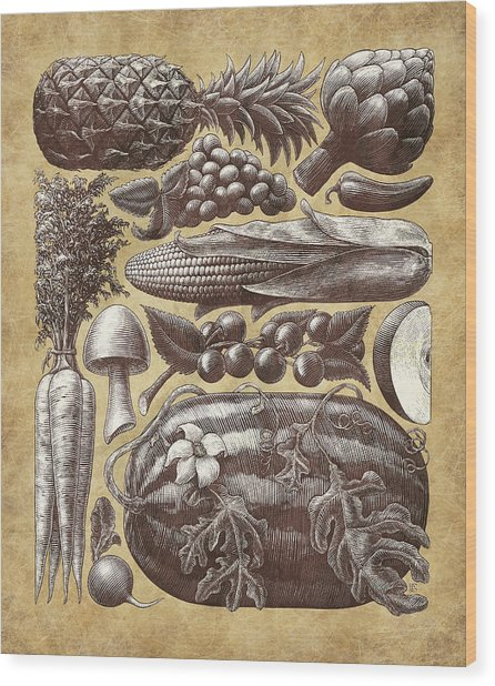 Wood Print featuring the drawing Farmer's Market - Sepia by Clint Hansen