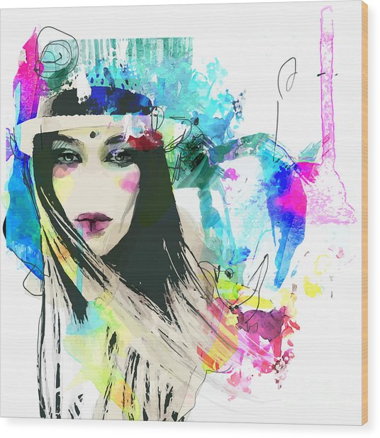 Fashion Illustration With A Face And Wood Print