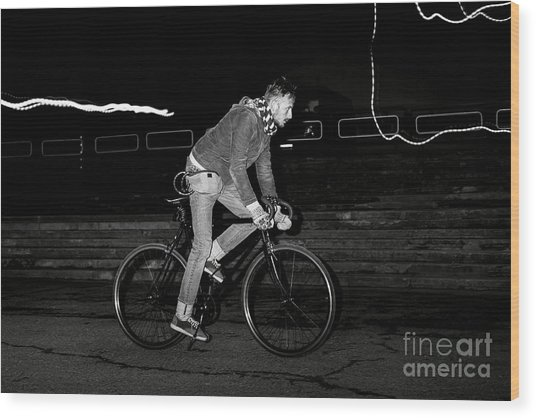 Fashion Man On The Fixed Gear Bike Wood Print by Hrynevich Yury