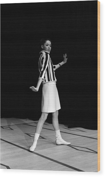 Fashion Mini Dress Courreges In France Wood Print by Reporters Associes