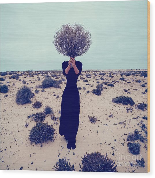 Fashion Photo. Girl In The Desert With Wood Print