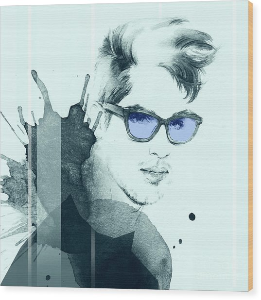Fashion Portrait. Young Beautiful Man Wood Print