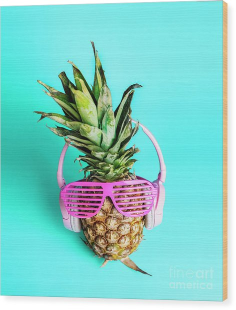Fashionable Trendy Pineapple Fruit With Headphones And Sun Glass Wood Print