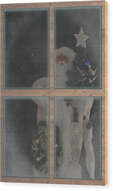 Father Christmas In Window Wood Print