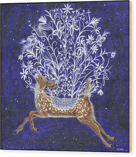 Fawn Bouquet Wood Print